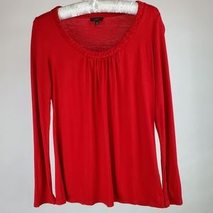 Talbots Long Sleeved Pleated Scoop Neck Shirt